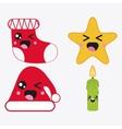 Kawaii icon set Merry Christmas design vector image
