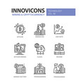 mining and cryptocurrency - line design icons set vector image