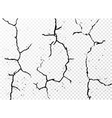 Set of vertical realistic wall cracks isolated on vector image