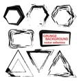 Grunge shapes Triangle squarehexagon Set of vector image
