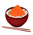 Bowl of Boiled Rice Topping with Chopped Salmon vector image