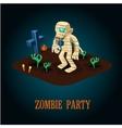 Cartoon Mummy on Night Halloween Cemetery vector image