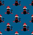 black cat santa hat seamless on indigo blue vector image