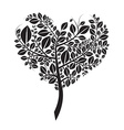 Heart Shaped Tree Silhouette Isolated on Whi vector image
