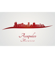 Acapulco skyline in red vector image