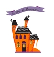 Halloween card with haunted house vector image
