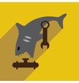 flat icon with long shadow shark cartoon vector image