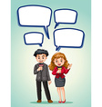 News reporter with speech bubbles vector image