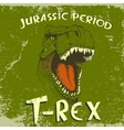 Vintage label with angry face of tyrannosaurus vector image