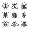 beetle insect and bug icons set vector image