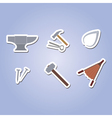 color icon set with blacksmith tools vector image
