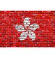 Flag of Hong Kong on a brick wall vector image