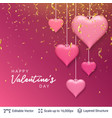 pink 3d hearts and greeting text vector image