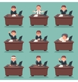 Businessman character work office desktop set vector image