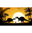 Silhouettes of dinosaurs vector image