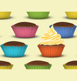 seamless pattern of cupcakes vector image