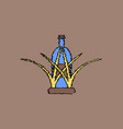 flat shading style icon bottle in grass vector image vector image