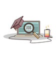 Isolated cartoon college degree online job searchi vector image