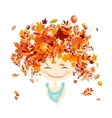 Female portrait with autumn hairstyle for your vector image