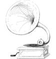 old gramophone sketch vector image
