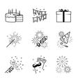 Birthday party celebration fireworks icons set vector image