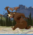 cartoon funny bear runs with pants in hand vector image