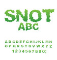 snot font snivel alphabet green slime letters vector image