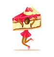smiling woman wearing cake costume puppets food vector image