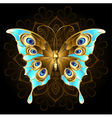 Golden Butterfly with Turquoise vector image vector image