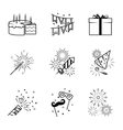 Birthday party celebration fireworks icons set vector image
