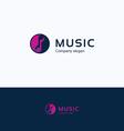 Music note logo Yin Yang vector image