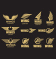 Wings logo collection - golden auto wings logo vector image