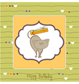 happy birthday card with cute cat vector image