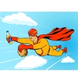 Superhero fat man and burger comic book vector image