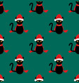 black cat santa hat seamless on green teal vector image