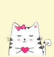 cute sketch cat with heart vector image