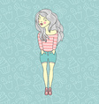 Decorative pattern design with girl vector image