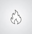 fire outline symbol dark on white background logo vector image