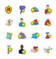 insurance icons set cartoon vector image