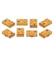 Isometric lying yellow travelers suitcases vector image