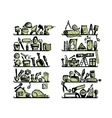 Repair home icons on shelves sketch for your vector image