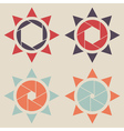 shutter sun icon set vector image