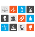 Flat Power energy and electricity icons vector image vector image