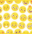 seamless pattern with cheerful happy smileys for vector image