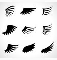 wings icons set isolated on white background vector image