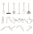 simple black outline gardening tools icons eps10 vector image vector image