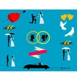 Wedding couples in silhouette vector image