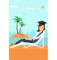 Graduate lying on chaise lounge with laptop vector image