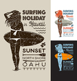 Surfing holiday hawaii girl vector image
