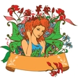 Beautiful Fairy among flowers vector image